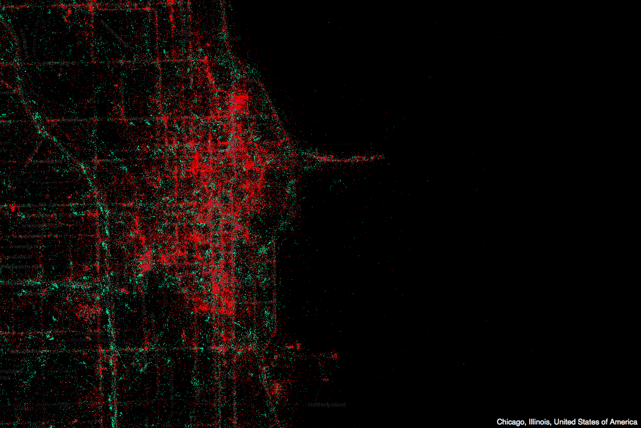 Map of Mobile Device + Twitter Usage in Chicago, from MapBox