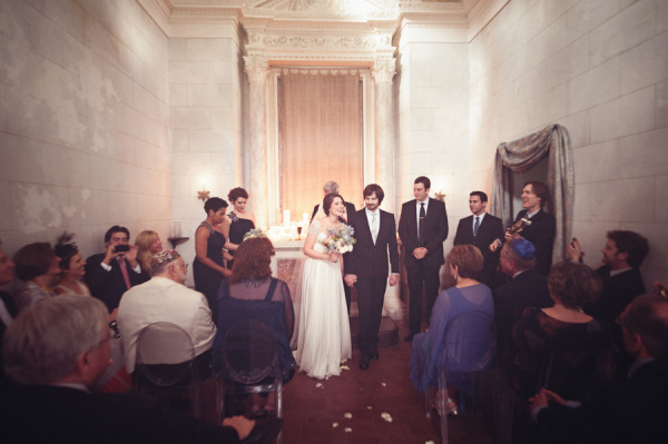 PHOTO: Wedding ceremony in small Tuscan chapel.
